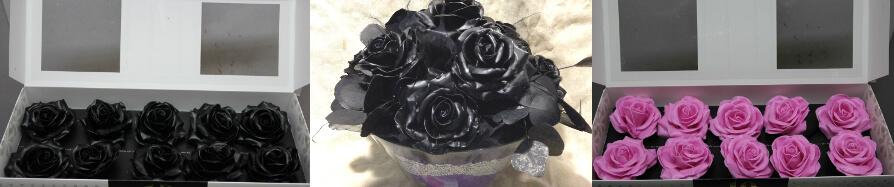 """Τριαντάφυλλα """"Κέρινα"""" Μαύρα ή Ροζ Σύνθεση σε Βάζο"""