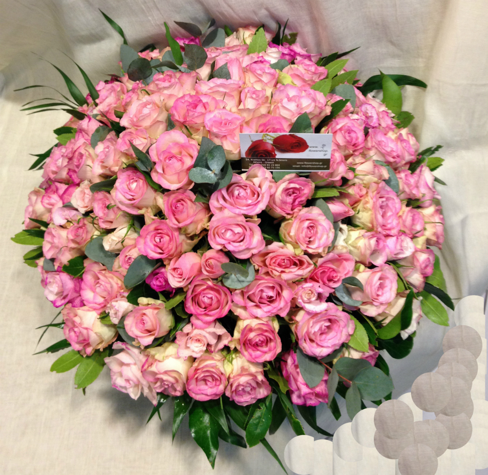 Pink & Red Roses (100) stems round basket arrangement. Exclusive